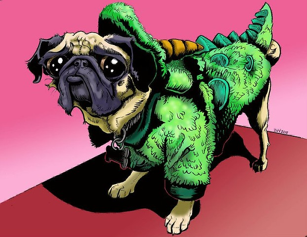 Unhappy Pug In Costume