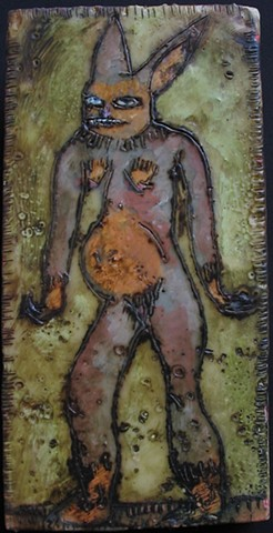 Mean Rabbit Encaustic Zoo Series