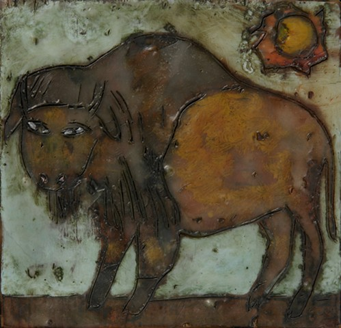 Bison Encaustic Zoo Series