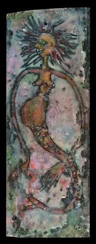 Pregnant Mermaid Encaustic Zoo Series
