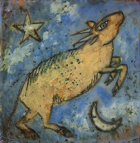Goat Encaustic Zoo Series