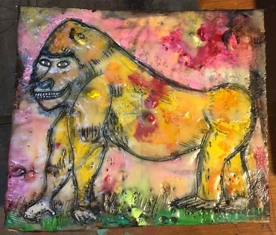 Yellow Gorilla Encaustic Zoo Series