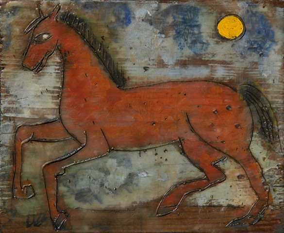Brown Horse Encaustic Zoo Series