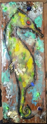 Seahorse Envy Encaustic Zoo Series 25% going to Buffalo Cares Rescue  SOLD