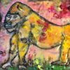Yellow Gorilla Encaustic Zoo Series