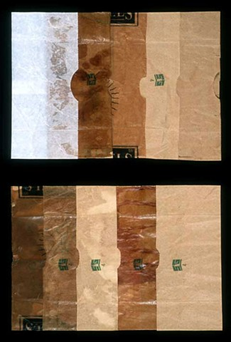 abstract paper bag composition by Laura Evans, accordion folds, opening out