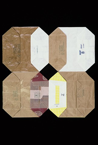 "geometric ""quilt"" square, abstract, paper bags, by Laura Evans"