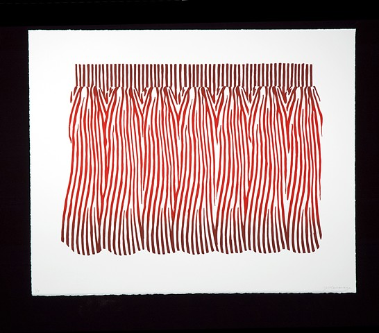 Janet Marcavage, Curtain (Red), screenprint on rag paper, 19.5 x 24""