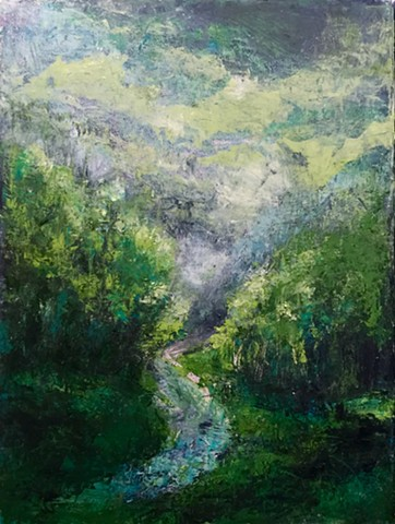 Summer light on Smuggler's Notch. Sold as a set with following panel.