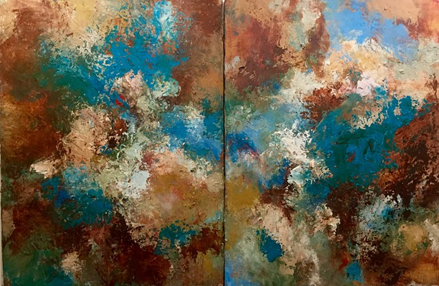 New Mexico colors and textures. Sold as set of two panels.