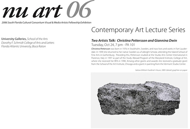 Artist Talk, FAU, Invitation