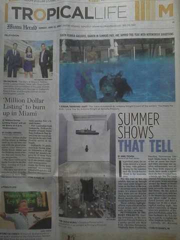 "Miami Herald Front Page Review Image of ""Even Last Things Last Forever"" From The Castle Dismal Solo Exhibition at Primary Projects"