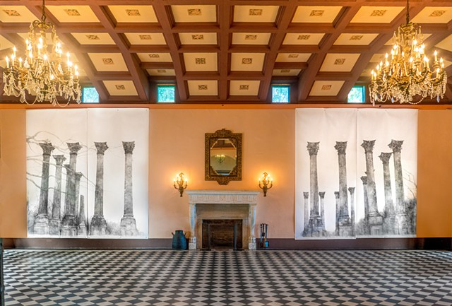 The Terrible Knowing & Not Knowing Installed in the Ballroom of the Stone House Deering Estate