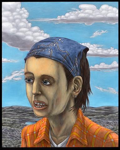 painting, portrait, renaissance, post-apocalyptic, orange shirt, danube school