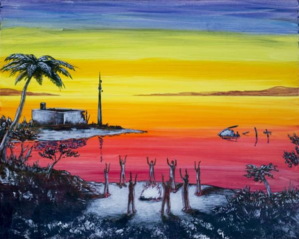 painting, beach, sky, post-apocalyptic, mische, danube school, margaret atwood