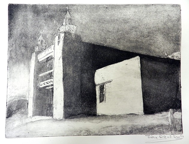 copper plate etching of San Jose de Garcia church Las Tampas,NM