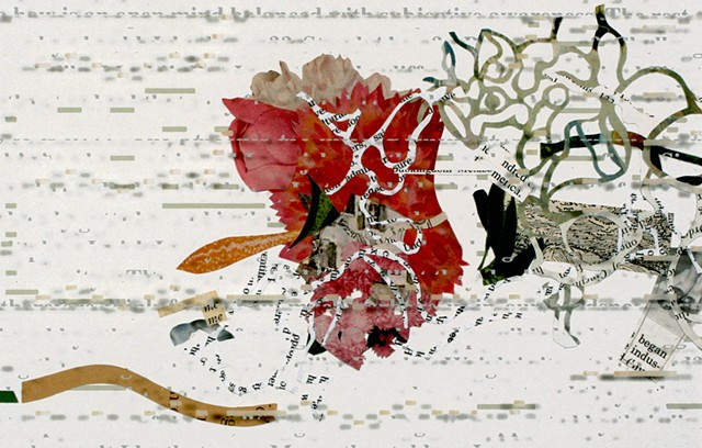 Detail showing piano roll background with collaged elements from books, underneath plexiglass text
