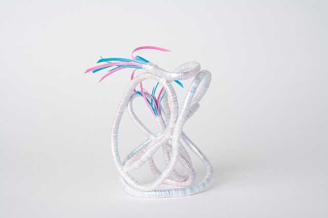 abstract plastic basket in pink and baby blue by Jose Santiago Perez
