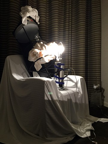 overnight performance installation in hotel room by Jose Santiago Perez