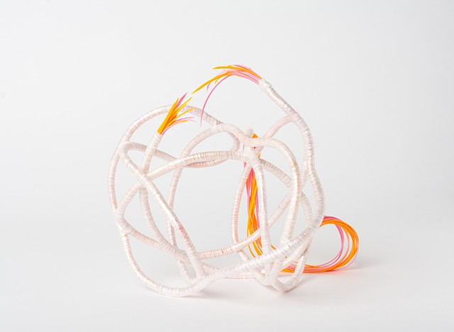abstract plastic basket in pink and orange by Jose Santiago Perez
