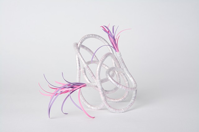 abstract plastic basket in pink and lavender by Jose Santiago Perez