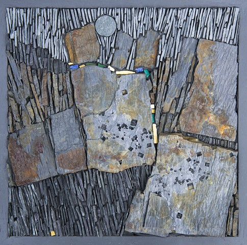 SCOTTISH SLATE MOSAIC WITH AN ARCHAEOLOGICAL CONTEXT