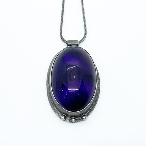 Amethyst and sterling silver pendant on sterling silver chain