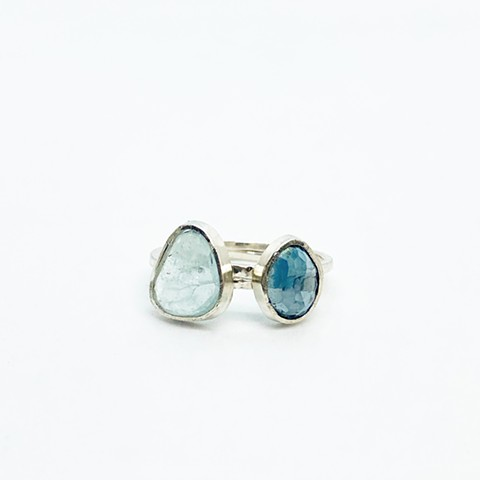 Aquamarine, London Blue Topaz Rings