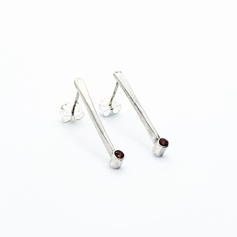 Garnet Tube Earrings