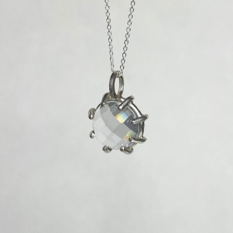 Rose Cut White Topaz Necklace