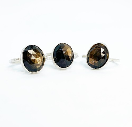 Rose cut golden sapphire, sterling silver (Price for one)