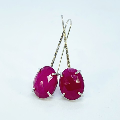 Neon Pink Rose Cut Chalcedony Earrings