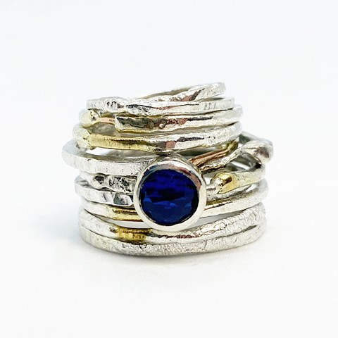 Silver, Gold, and Sapphire Stacking Rings
