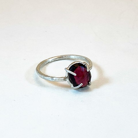 Rose Cut Mozambique Garnet Ring