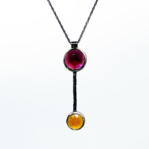 Rose cut garnet, rose cut cirtine, sterling silver