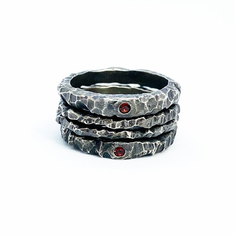Cast Sterling Silver and Garnet Rings