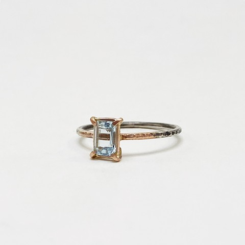 Aquamarine, 14K Rose Gold, and Sterling Silver Ring