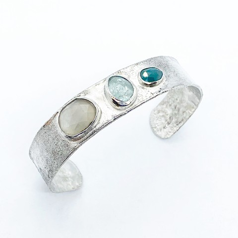 Grey moonstone, aquamarine, grandidierite, and sterling silver cuff