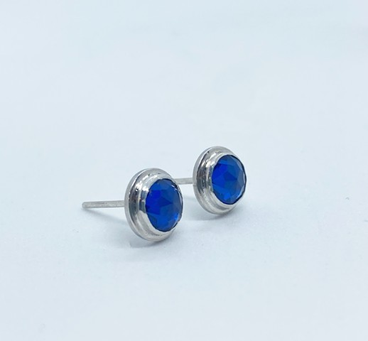 Simulated Sapphire Studs