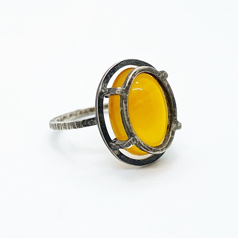 Yellow Chalcedony and Sterling Silver Ring