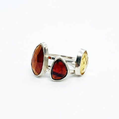 Hessonite Garnet, Mozambique Garnet, Citrine Rings
