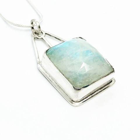Rainbow moonstone and aqua chalcedony doublet on sterling silver chain