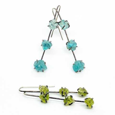 Peridot and Apatite Rough Earrings