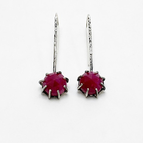 Rose Cut Ruby Earrings