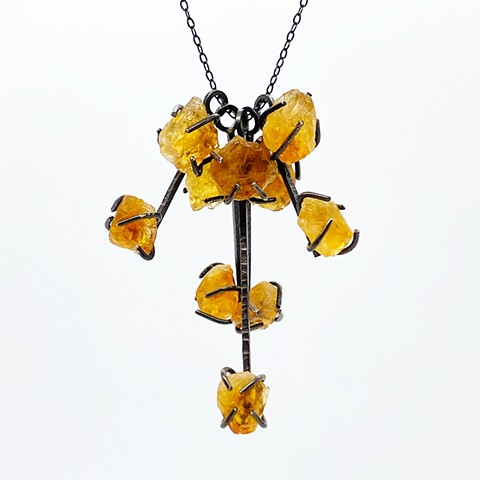 Rough Citrine Cluster Necklace