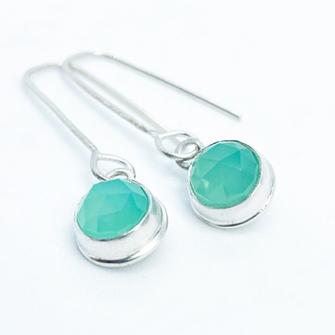 Sea foam chalcedony and sterling silver earrings