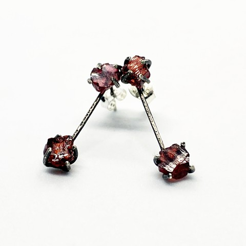 Rough garnet, sterling silver stud earrings
