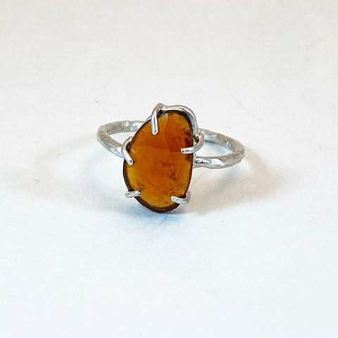 Rose Cut Hessonite Garnet Ring