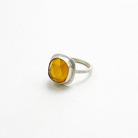 Rose Cut Yellow Chalcedony RIng
