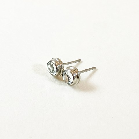Rose Cut White Topaz Studs